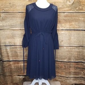 See by Chloe Large Ruched Mini Dress Navy